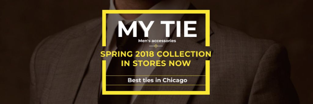 Tie store Ad with man in suit Email header – шаблон для дизайна