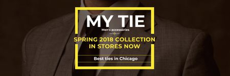 Tie store Ad with man in suit Email header – шаблон для дизайну