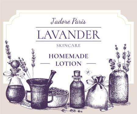 Ontwerpsjabloon van Facebook van Homemade Cosmetics with Lavender flowers