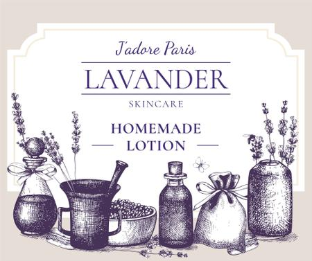 Homemade Cosmetics with Lavender flowers Facebook Design Template