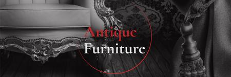 Ontwerpsjabloon van Twitter van Antique Furniture Ad Luxury Armchair