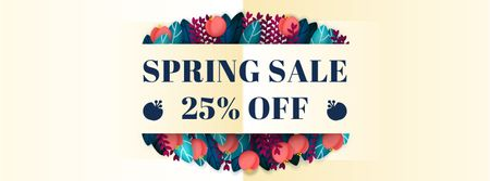 Plantilla de diseño de Spring sale Frame with flowers and leaves Facebook Video cover