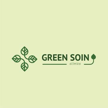 Clinic Promotion Medical Cross with Leaves | Logo Template