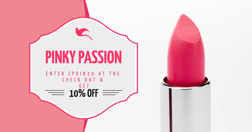 Cosmetics Promotion with Pink Lipstick Facebook AD Design Template