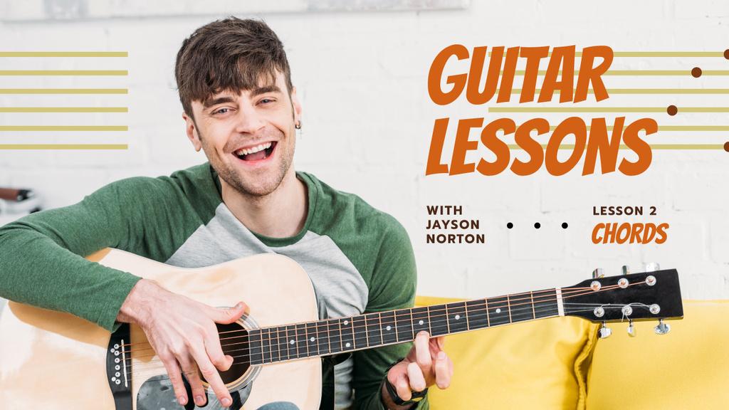 Ontwerpsjabloon van Youtube Thumbnail van Guitar Lessons Ad Man Playing Guitar