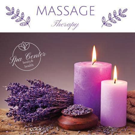 Massage therapy ad with lavender and candles Instagram AD – шаблон для дизайна
