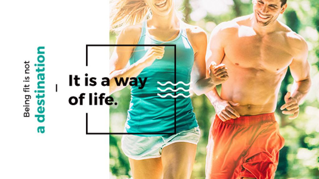 Running sporty young people with motivational quote — Crea un design