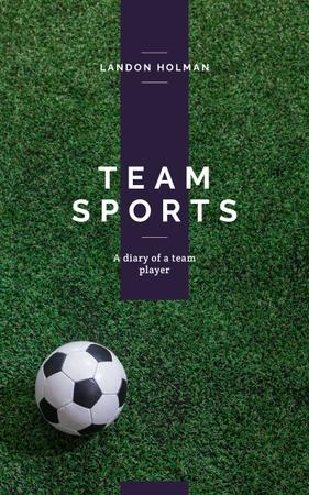 Soccer ball on green lawn Book Cover Design Template