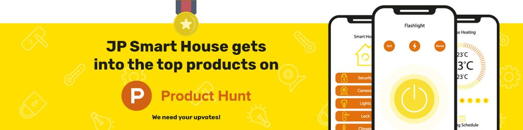 Product Hunt Launch Ad Smart Home App on Screen Web Banner – шаблон для дизайна