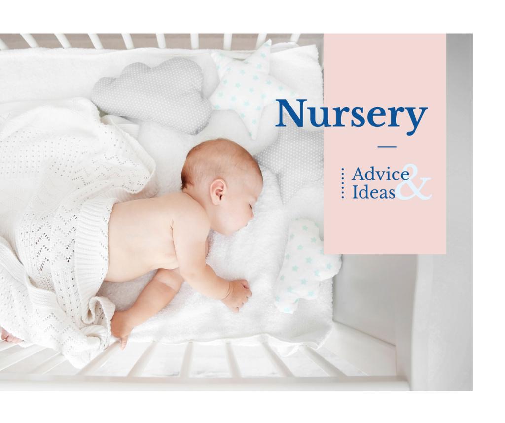 Nursery Design Baby Sleeping in Crib — Crear un diseño