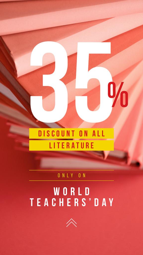 Szablon projektu World Teachers' Day Sale Stack of Books in Red Instagram Story