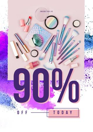Makeup cosmetics set Poster Design Template