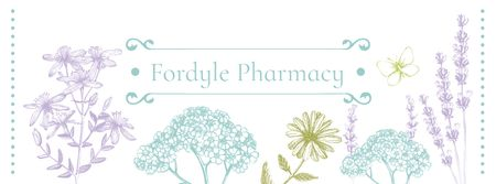 Pharmacy Ad with Natural Herbs Sketches Facebook cover Modelo de Design
