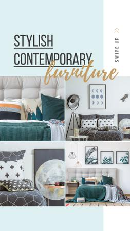 Furniture Ad Cozy bedroom interior Instagram Story Tasarım Şablonu