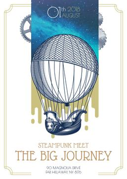 Big journey card with air balloon