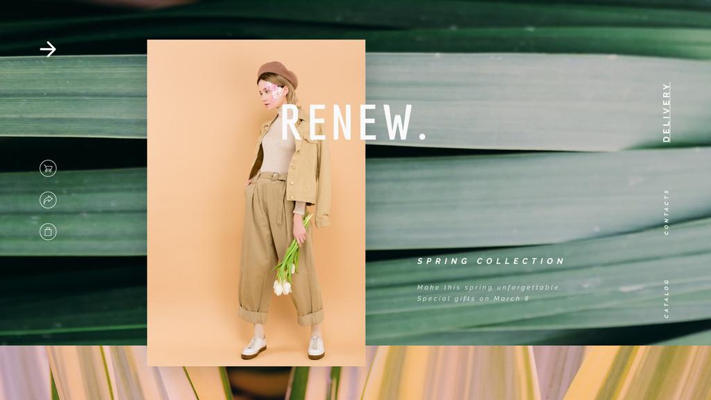 Stylish woman in beige outfit — Crea un design