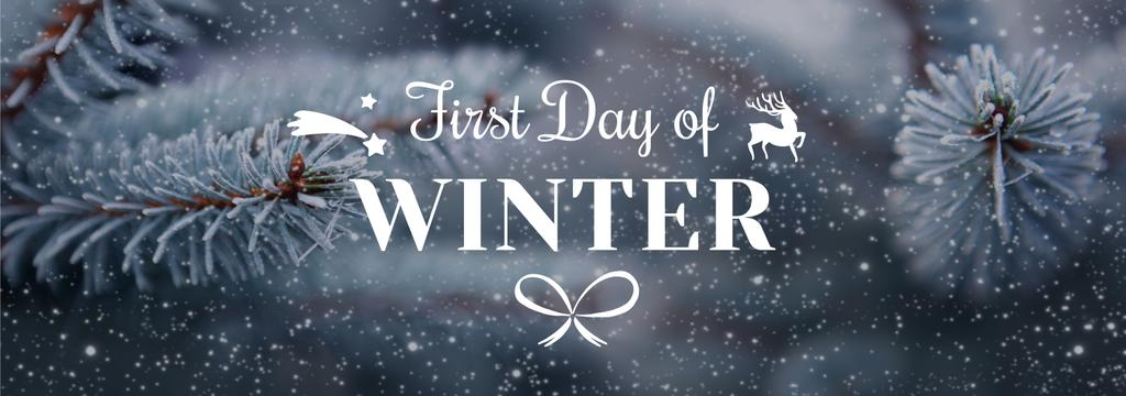 First day of winter lettering with frozen fir tree branch — Maak een ontwerp