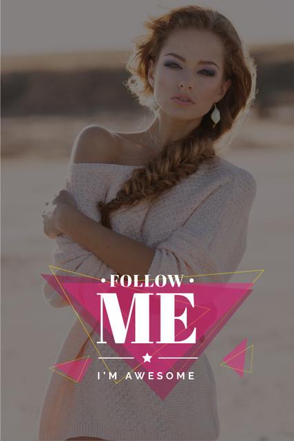 Ontwerpsjabloon van Pinterest van Beauty blog with Beautiful Young woman