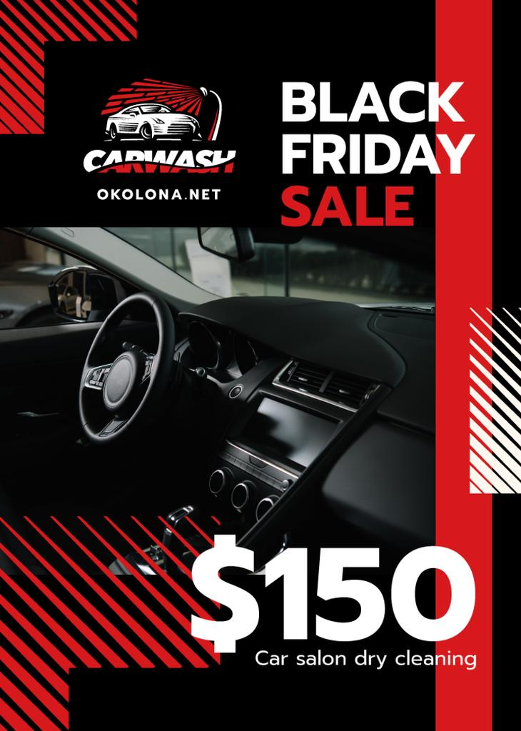 Black Friday Offer on Car Salon Cleaning | Flyer Template — Crear un diseño