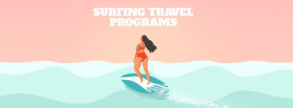 Summer Vacation Offer with Woman on Surfboard — Створити дизайн