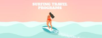 Summer Vacation Offer with Woman on Surfboard | Facebook Video Cover Template
