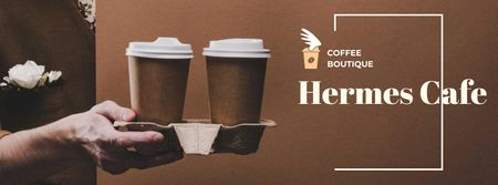 Plantilla de diseño de Man holding Coffee To-go Facebook cover