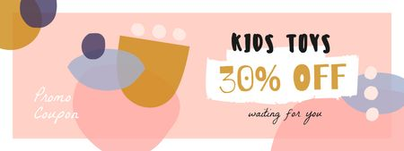 Kids Toys Discount with Funny Blots Coupon Design Template