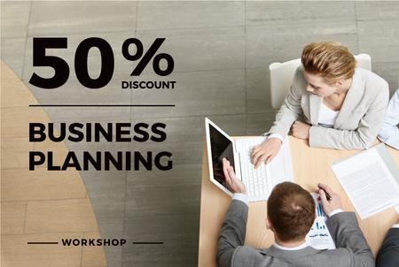 Business Planning Workshop with People Working on Laptops Gift Certificate Modelo de Design