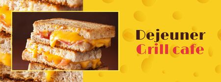 Modèle de visuel Grilled Cheese dish at Cafe - Facebook cover