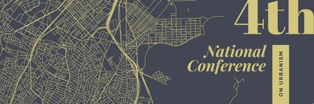 Plantilla de diseño de Urbanism Conference Announcement City Map Illustration Twitter
