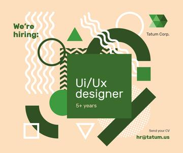 Job Offer on Geometric background in Green