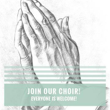 Church Choir Invitation with Hands in Prayer