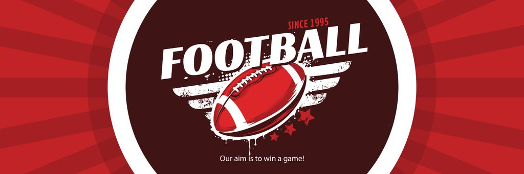 Football Event Announcement with Ball in Red | Twitter Header Template — Створити дизайн