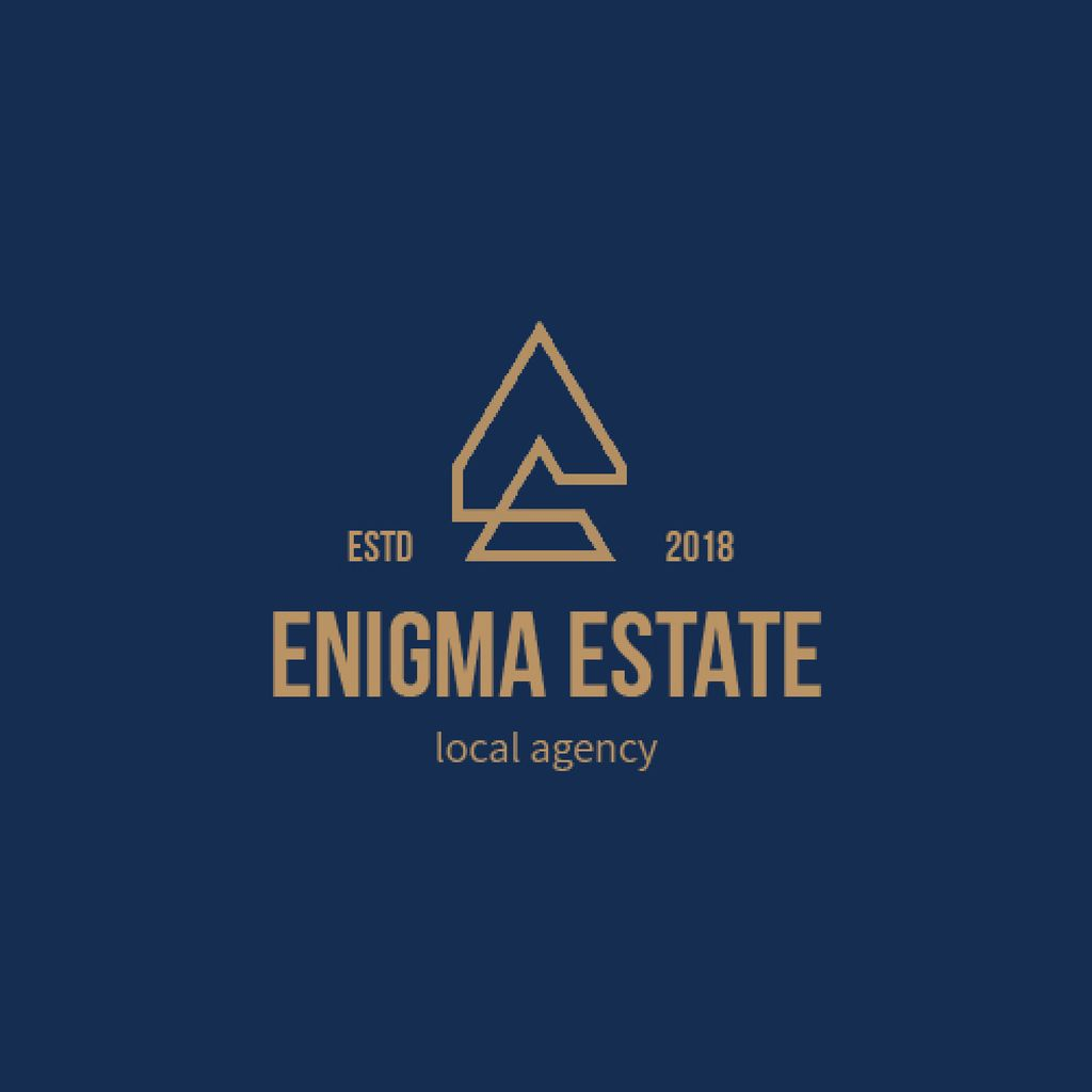 Real Estate Agency Ad Building Icon in Blue — ein Design erstellen