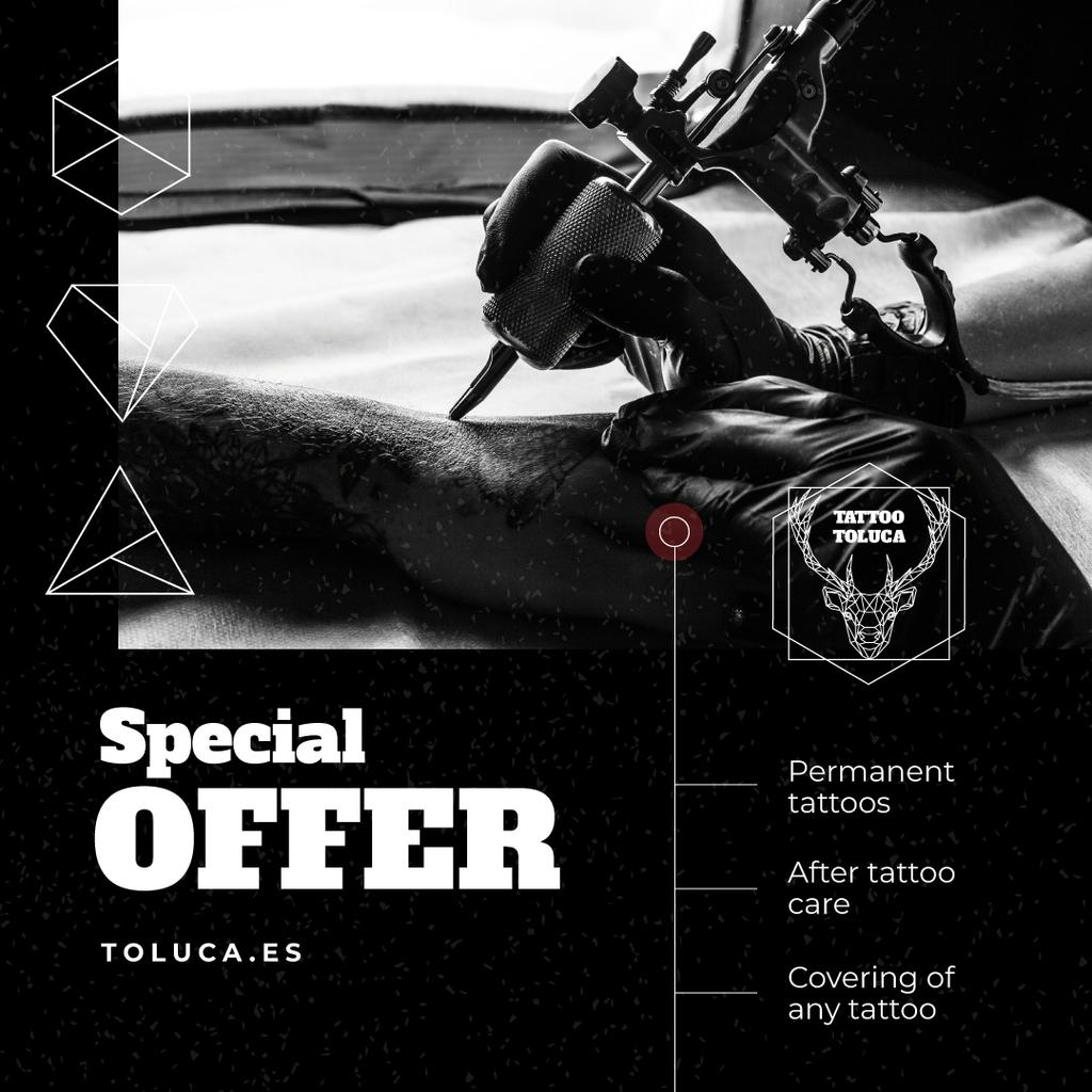 Tattoo Studio Offer with Man Getting Tattoo — Create a Design