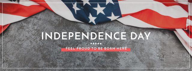 Plantilla de diseño de Independence Day Greeting USA Flag on Grey Facebook cover
