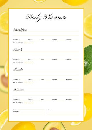 Plantilla de diseño de Daily Meal Planner in Frame with Lemons and Avocado Schedule Planner