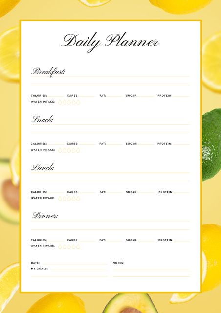 Daily Meal Planner in Frame with Lemons and Avocado Schedule Plannerデザインテンプレート
