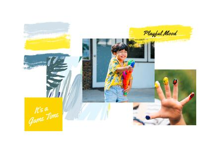 Child Playing and painting Mood Board – шаблон для дизайну
