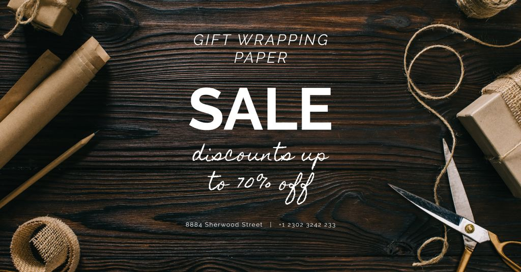 Gift Wrapping Sale Craft Paper and Rope Facebook AD Design Template