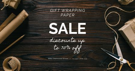 Designvorlage Gift Wrapping Sale Craft Paper and Rope für Facebook AD