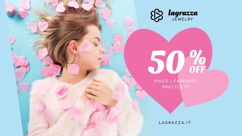 Jewelry Sale Woman in Pink Hearts — Modelo de projeto