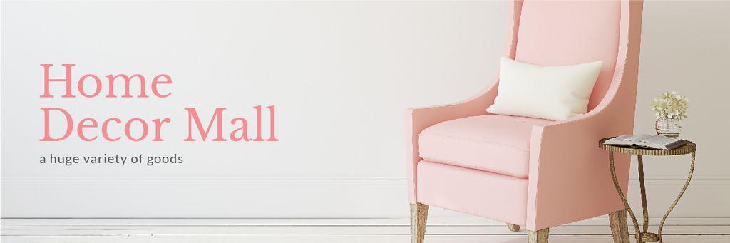 Home Decor Ad with Cozy Pink Chair — Maak een ontwerp