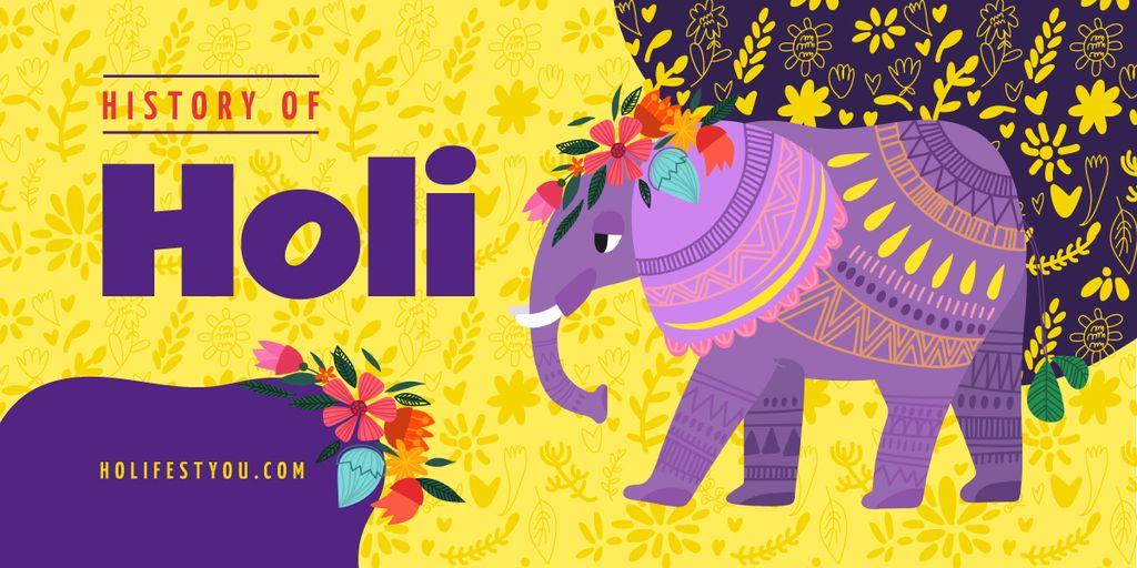 Elephant at Holi celebration — Modelo de projeto