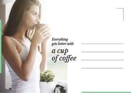 Plantilla de diseño de Young Woman drinking coffee Postcard