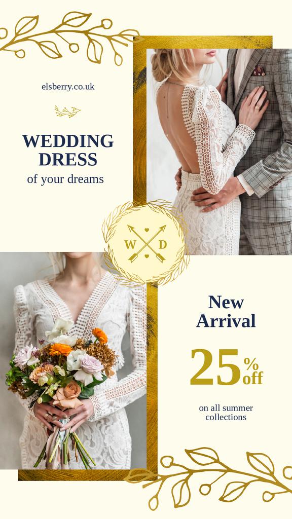 Designvorlage Wedding Dress Offer Elegant Bride and Groom für Instagram Story