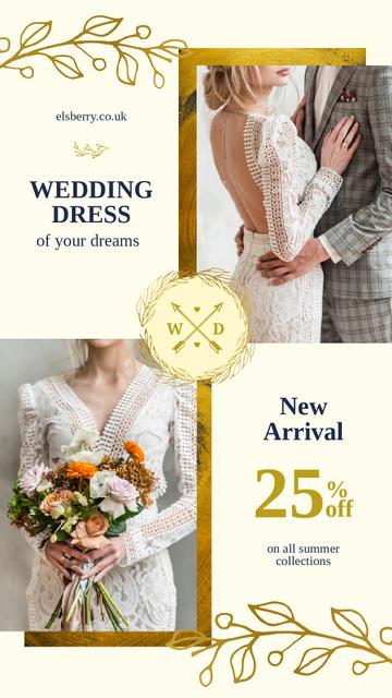 Modèle de visuel Wedding Dress Offer Elegant Bride and Groom - Instagram Story