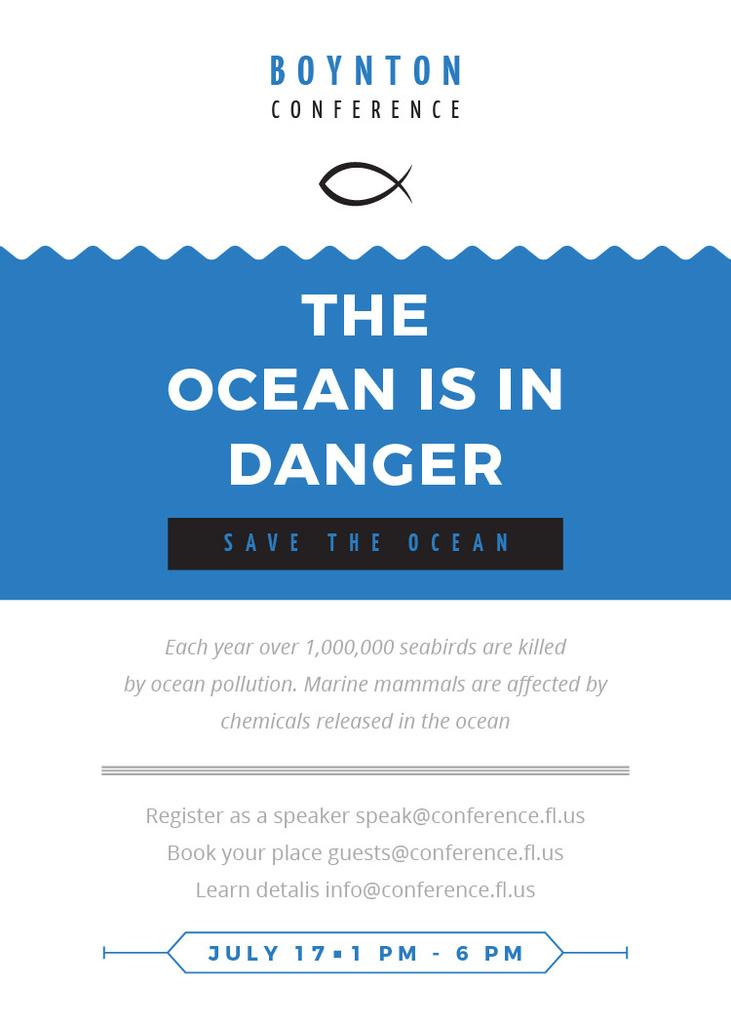 Ecology Conference Invitation with blue Sea Waves — Modelo de projeto
