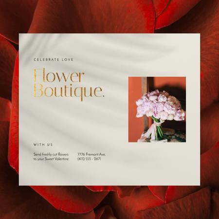 Valentine's Day Florists Offer with Pink Peonies Bouquet Animated Post Modelo de Design
