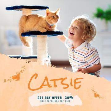 Cat Day Offer Child Playing with Red Cat | Square Video Template